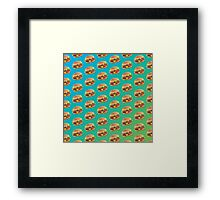 Burger Pattern Blue Framed Print