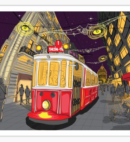 istiklal avenue night Sticker
