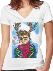 Smoking queer man Women's Fitted V-Neck T-Shirt