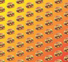 Burger Pattern Orange by Lucy Lier