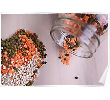 lentils and beans spread on a table top  Poster