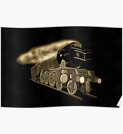 A digital old print painting of the Flying Scotsman, Steam Locomotive Poster