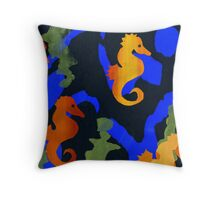 Swimming in tangles of green Throw Pillow