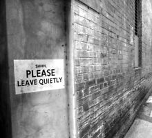 SHHH PLEASE LEAVE QUIETY. by Ian Ramsay