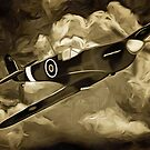 A digital painting as an old print of A Supermarine Spitfire by Dennis Melling