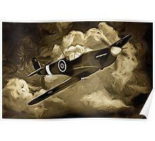 A digital painting as an old print of A Supermarine Spitfire Poster