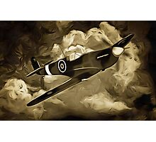 A digital painting as an old print of A Supermarine Spitfire Photographic Print