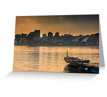 The row boat and the town Greeting Card