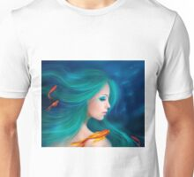 Illustration fantasy sea mermaid with red fishes Unisex T-Shirt