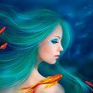 Illustration fantasy sea mermaid with red fishes by Alena Lazareva