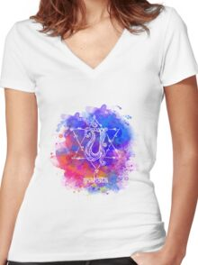 Anahata Chakra Symbol Women's Fitted V-Neck T-Shirt
