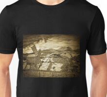 A digital painting of a traditional Romanian windmill Unisex T-Shirt