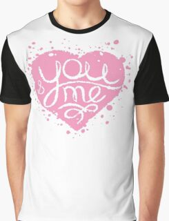 Hand drawn pink painted heart . Graphic T-Shirt