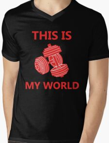 Weight Lifting is My World Mens V-Neck T-Shirt