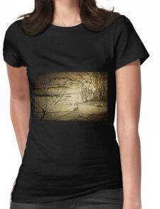 A digital painting of The Danube and A Boat Womens Fitted T-Shirt