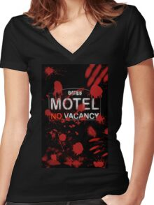 Bloody Bates Motel Women's Fitted V-Neck T-Shirt