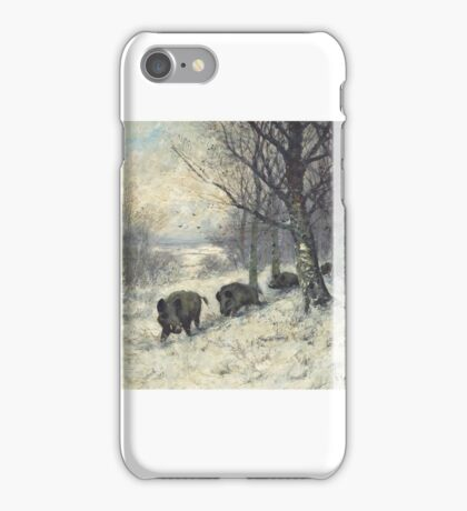 Friedrich Josef Nicolai Heydendahl (German,  Boars at the edge of the forest iPhone Case/Skin