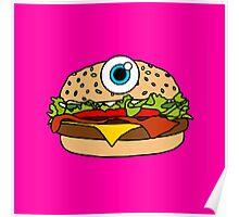Cyclops Burger Pink Poster