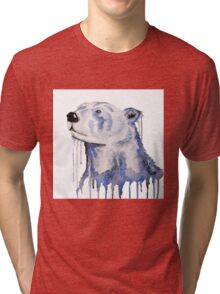 Melting Polar Bear Blue Bear Painting Tri-blend T-Shirt