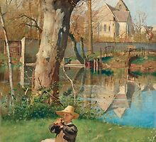 GEORG PAULI, PASTORAL SCENE ON THE BANK OF THE LOING by Adam Asar
