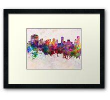 Osaka skyline in watercolor background Framed Print
