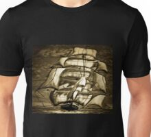 A digital painting of A Clipper Ship in Full Sail Unisex T-Shirt
