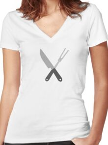 knife and fork Women's Fitted V-Neck T-Shirt