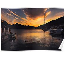 Queenstown Harbour at Sunset Poster
