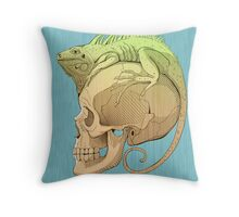 colorful illustration with iguana and skull Throw Pillow