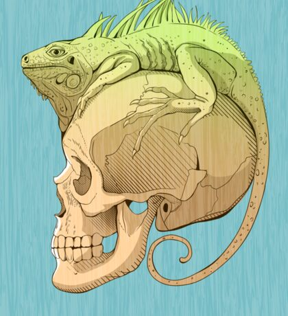 colorful illustration with iguana and skull Sticker