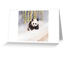 Panda In The Snow Greeting Card