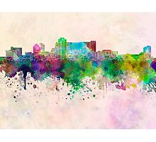 Rochester MN skyline in watercolor background Photographic Print