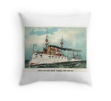 Armoured steel cruiser New York, United States Navy - 1893 - Currier & Ives Throw Pillow