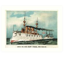 Armoured steel cruiser New York, United States Navy - 1893 - Currier & Ives Art Print