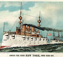 Armoured steel cruiser New York, United States Navy - 1893 - Currier & Ives by CrankyOldDude