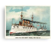 Armoured steel cruiser New York, United States Navy - 1893 - Currier & Ives Metal Print