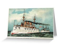 Armoured steel cruiser New York, United States Navy - 1893 - Currier & Ives Greeting Card