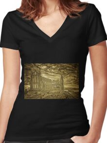 A digital painting of Whitby Abbey, Yorkshire, England Women's Fitted V-Neck T-Shirt
