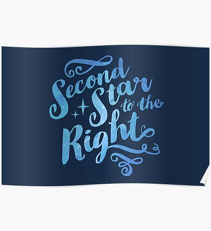 Second Star To the Right // Pretty Star Peter Pan Typography Quote Poster