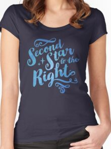 Second Star To the Right // Pretty Star Peter Pan Typography Quote Women's Fitted Scoop T-Shirt