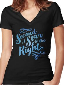 Second Star To the Right // Pretty Star Peter Pan Typography Quote Women's Fitted V-Neck T-Shirt
