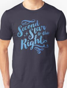 Second Star To the Right // Pretty Star Peter Pan Typography Quote Unisex T-Shirt