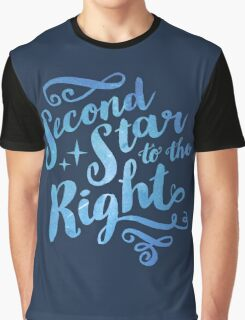 Second Star To the Right // Pretty Star Peter Pan Typography Quote Graphic T-Shirt