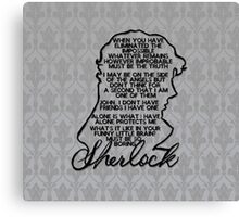 BBC Sherlock quote picture Canvas Print