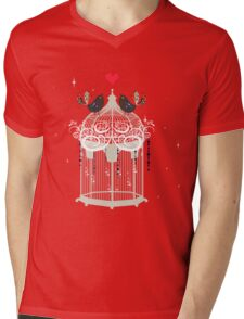 birds in a cage  Mens V-Neck T-Shirt