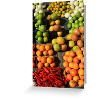 Fresh Fruits and Vegetables at the Market Greeting Card