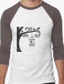 Bird Cage   Men's Baseball ¾ T-Shirt