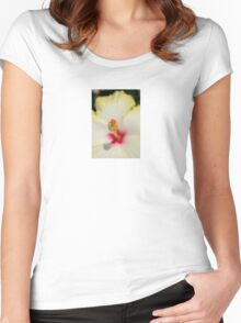 Close Up of Stamen And Pollen Yellow Hibiscus Women's Fitted Scoop T-Shirt