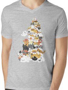 cat pile Mens V-Neck T-Shirt