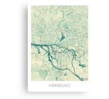 Hamburg Map Blue Vintage Canvas Print